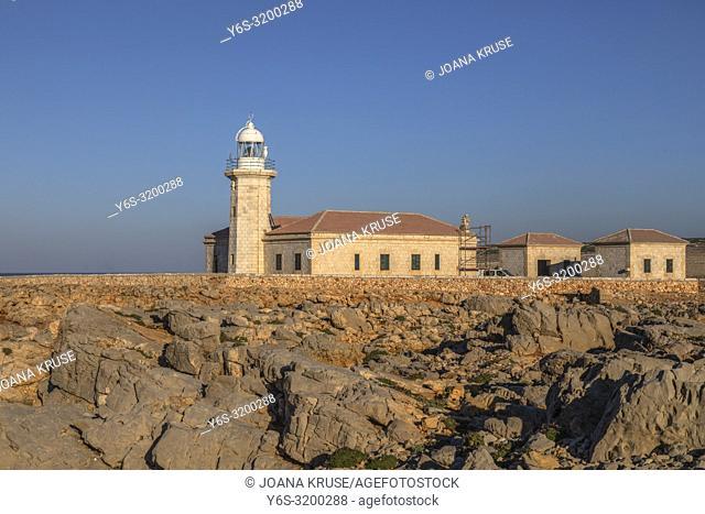 Punta Nati lighthouse, Menorca, Balearic Islands, Spain, Europe