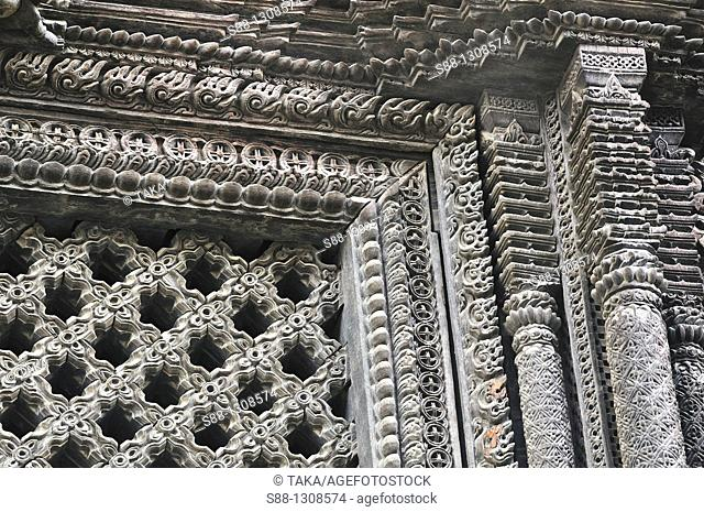 Wooden carving of Basantapur Durbar temple, Hanuman Dhoka complex, world heritage monument zone, Durbar Square, Kathmandu, Nepal