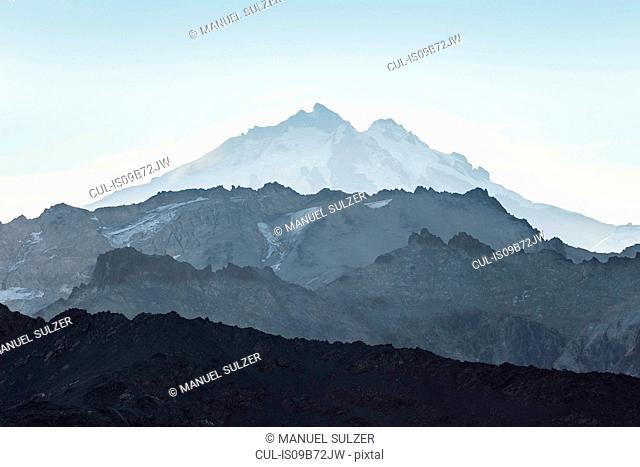 View of Tronador Mountain and rugged landscape, Andes, Nahuel Huapi National Park, Rio Negro, Argentina