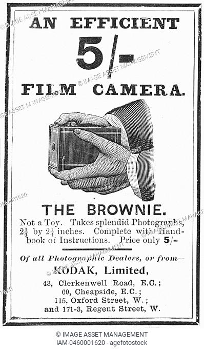 Advertisement for Kodak 'Brownie' camera from 'The Illustrated London News', 4 August 1900  Engraving