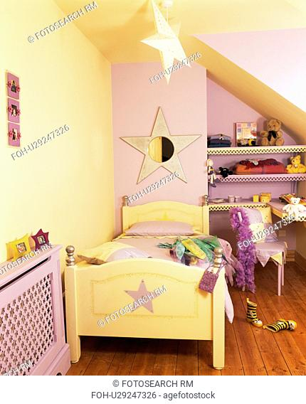Star Themed Painted Wooden Bed In Mauve And Cream Child S Bedroom