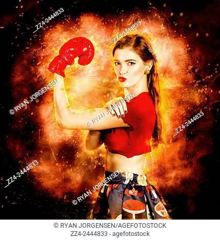 Strong resilient and determined pin up boxing girl flexing arms in a WE CAN DO IT concept. Box on peoples