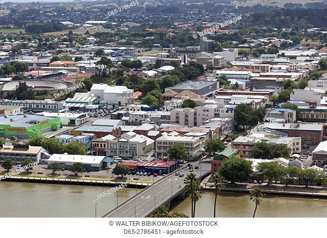 New Zealand, North Island, Wanganui, city skyline from Durie Hill