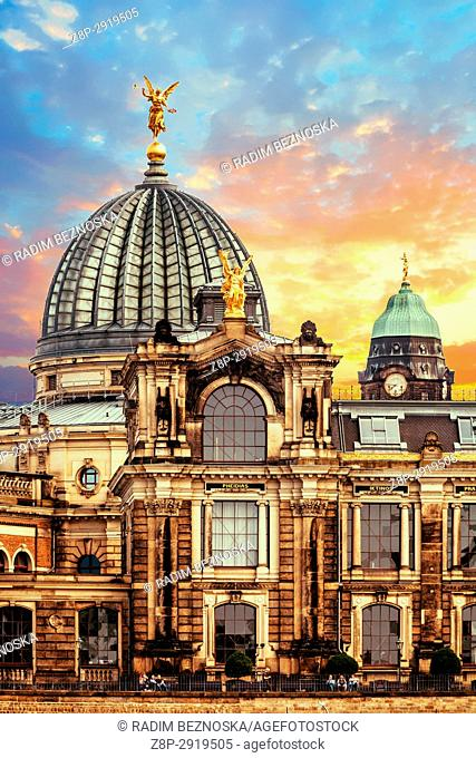 Golden angel on roof of Royal Art Academy in Dresden, Sunset, Saxony, Germany
