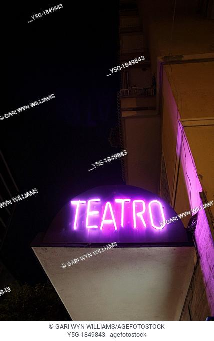 neon theatre sign in rome italy
