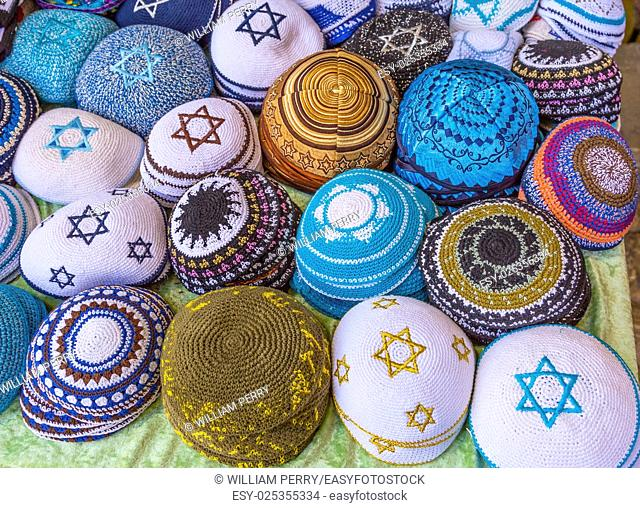 Kippahs Yarmulkes Jewish Hats Covers Israeli Star of David Souvenirs Safed Tsefat Israel. Kippahs/Yarmulkes are Jewish headgear worn by men during a Jewish