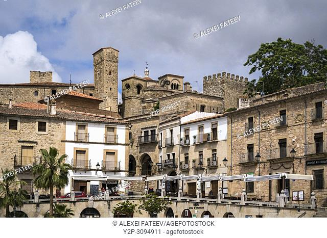 Historical part of Trujillo, Spain viewed from Plaza Mayor
