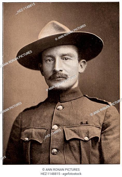 Robert Stephenson Smyth Baden-Powell, British soldier, c1900. Baden-Powell (1857-1941) won fame during the 2nd Boer War (1899-1902) as the defender of Mafeking...