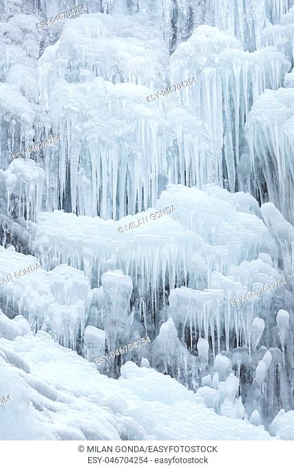 Ice formations at Sutovsky waterfall in Mala Fatra national park in northern Slovakia.