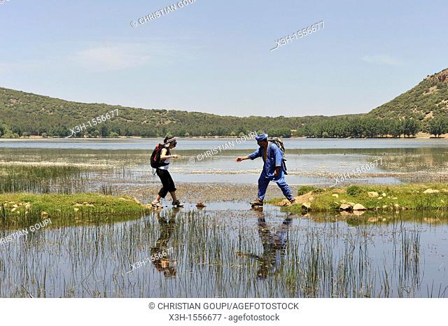 hikers by the Dayet Aoua lake, around Ifrane, Middle Atlas, Morocco, North Africa