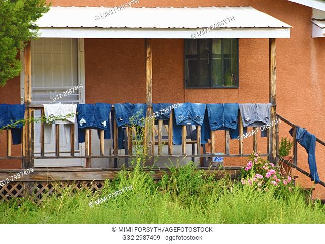 family laundry, drying. New Mexico