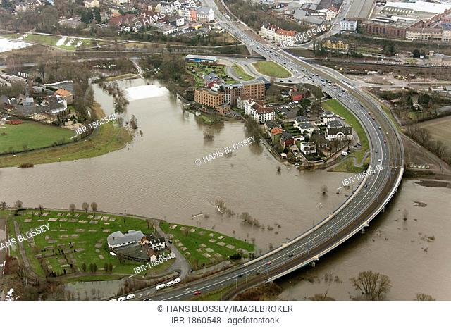 Aerial view, high water, Ruhr River, Hattingen, Ruhr area, North Rhine-Westphalia, Germany, Europe