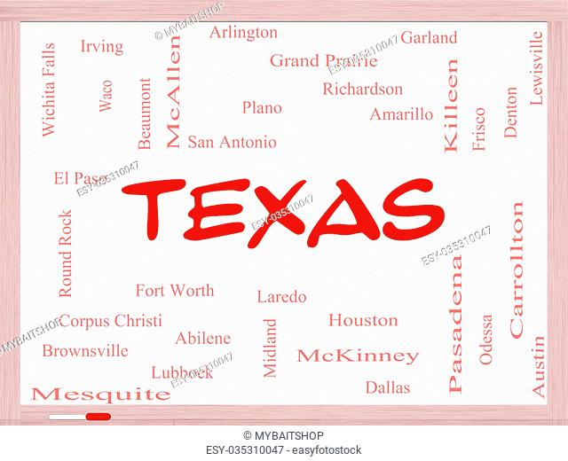 Texas State Word Cloud Concept on a Whiteboard with about the 30 largest cities in the state such as Houston, Dallas, San Antonio and more