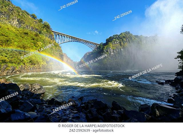 View of Bridge across the Zambezi River from the Boiling Pot. Victoria Falls. Livingstone. Zambia