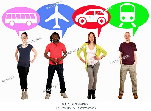 laughing people group of young people with choices bus,train,car or plane