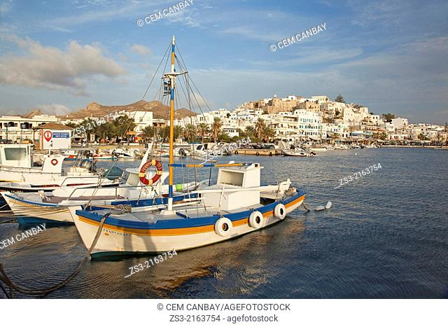 Fishing boats inside the harbour of the town center, Naxos, Cyclades Islands, Greek Islands, Greece, Europe