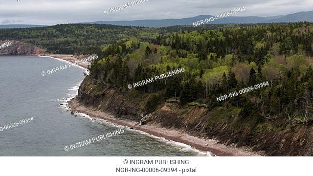 Scenic view of coastline, Ingonish, Cabot Trail, Cape Breton Island, Nova Scotia, Canada