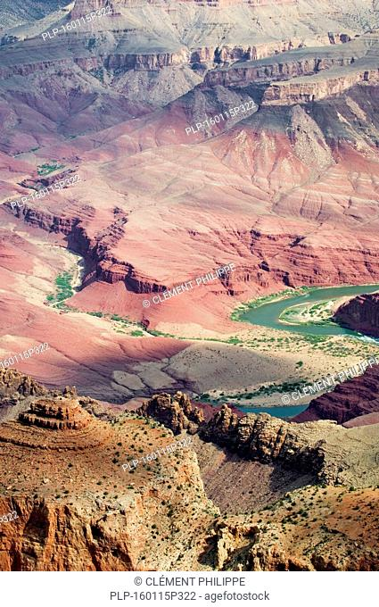 Looking down into Grand Canyon along the Desert View Drive with view on the Colorado River, Grand Canyon National Park, Arizona, USA