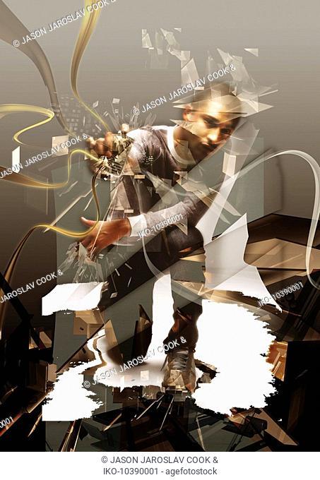 Man crashing through abstract foreground