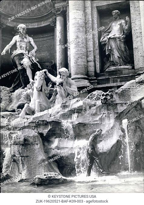 May 21, 1962 - This afternoon a german tourist to find publicity or because of the hot weather took a bath in the Trevi Fountain it really seemed a scene from...