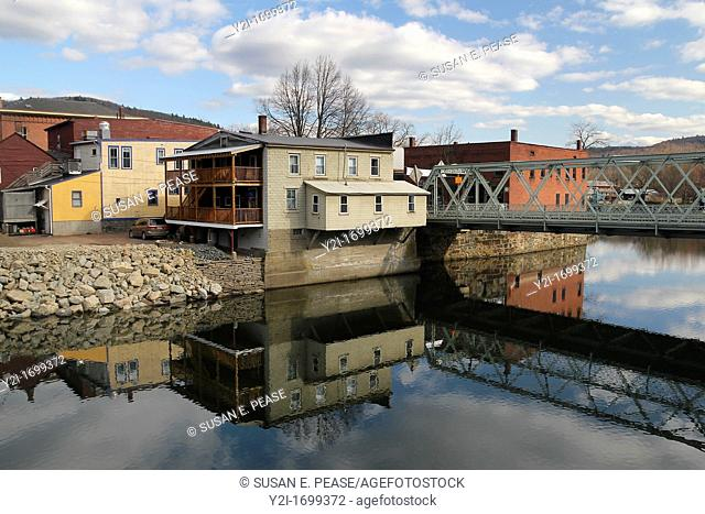 Reflections in the Deerfield River in the village of Shelburne Falls, Massachusetts, United States