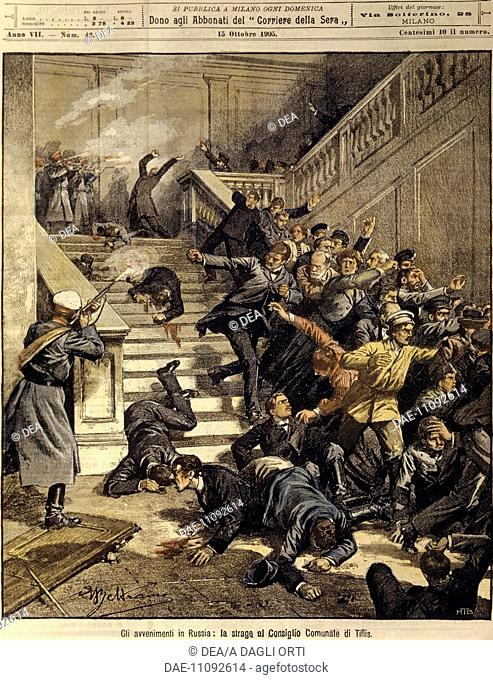 Russian Empire, 20th century - Massacre at Tiflis City Council building. Cover illustration from La Domenica del Corriere