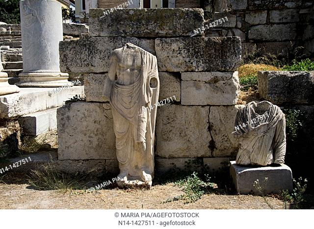 Two roman sculptures at the Roman Agora, Athens, Greece