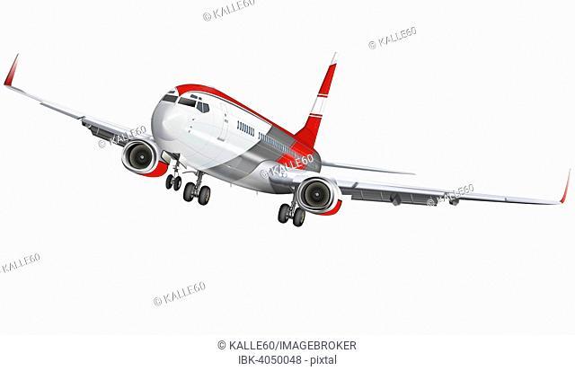 Passenger plane with landing gear, illustration