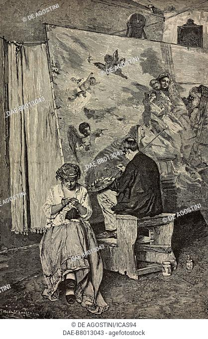 Vandalism, a painter and a girl crocheting, engraving from a painting by Giacomo Favretto, Exposition of Brera 1886, from L'Illustrazione Italiana No 25 and 26