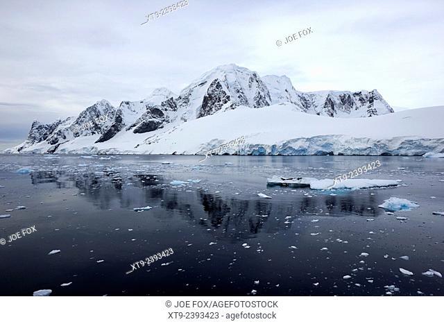 coastline of loubat island in the lemaire channel on grahamland Antarctica