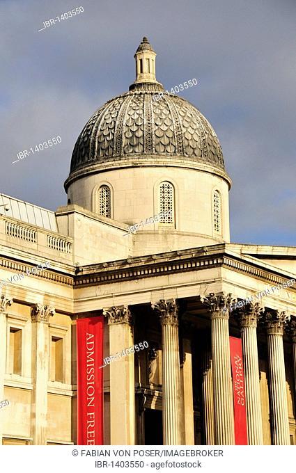 Facade of the National Gallery on Trafalgar Square, London, England, United Kingdom, Europe