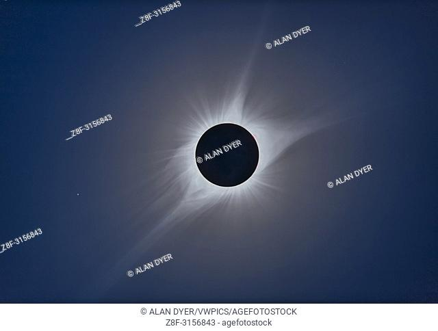 A composite of the August 21, 2017 total solar eclipse assembled using the HDR program Photomatix Pro v6. . . The composite is from 11 exposures