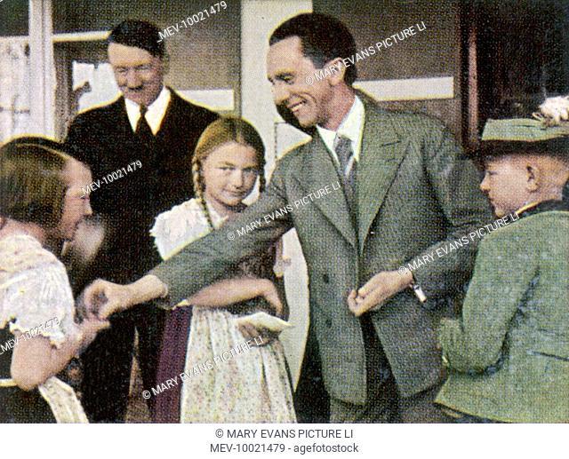 PAUL JOSEPH GOEBBELS (1897-1945), German statesman, with Adolf Hitler at Obersalzburg (Berchtesgarten ?), circa 1933