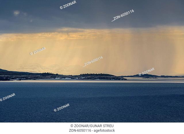 rain shower, Lake Akkajaure, Lapland, Sweden