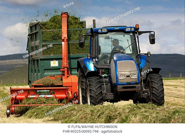 Valtra tractor pulling Kverneland forage harvester and trailer, making silage for livestock, Cumbria, England, summer