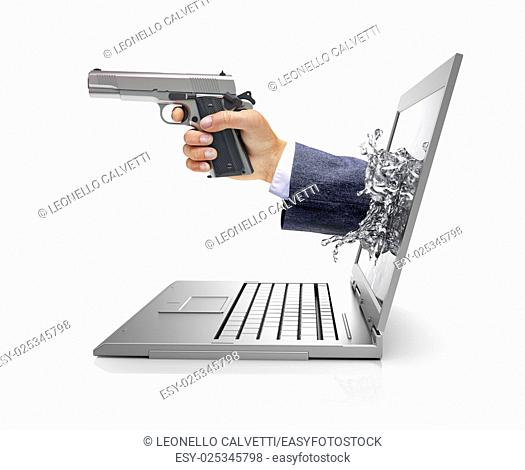 Man's hands, coming out from a computer laptop screen, forming a splash from liquid crystals, holding a silver gun. Viewed from a side