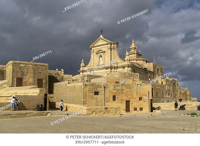cathedral of the Assumption and the Cittadella or Citadel, Victoria, Gozo, Malta
