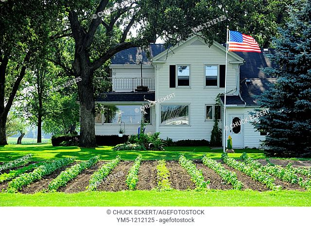 Wisconsin Farm House, flag & garden