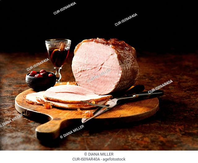 Carved Wiltshire ham with mulled wine