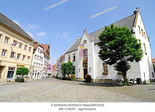 Town hall, market square, historic centre, Warendorf, Muensterland region, North Rhine-Westphalia, Germany, Europe