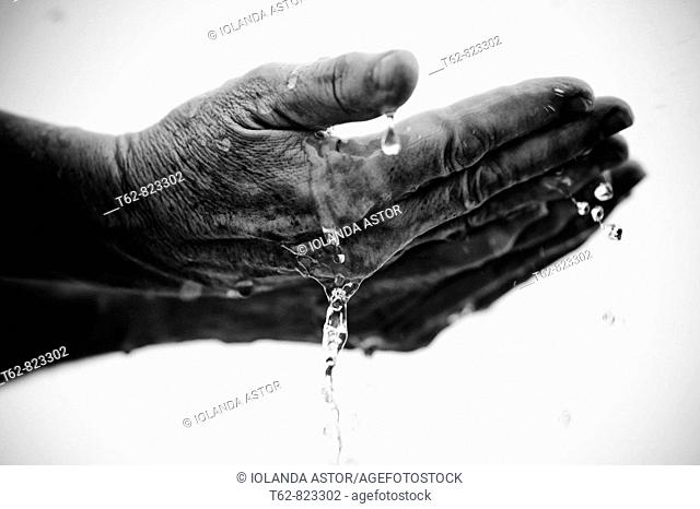 Close-up of a woman washing her hands