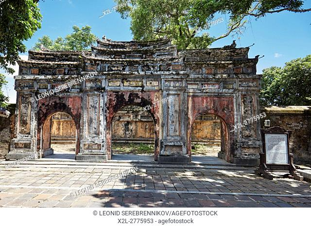 Gate to the ruined Phung Tien Temple. Imperial City (The Citadel), Hue, Vietnam
