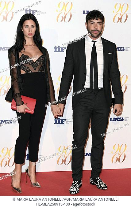 Vip plastic surgeon Giacomo Urtis and Silvia Martinelli during red carpet of 60/90 party, for 60 years of career and ninetieth birthday of Fulvio Lucisano