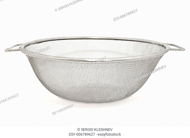 Closeup image of sieve, isolated on white background
