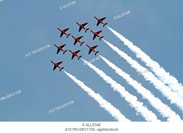 RED ARROWS AEROBATIC DISPLAY; SCARBOROUGH, NORTH YORKSHIRE; 29/06/2013