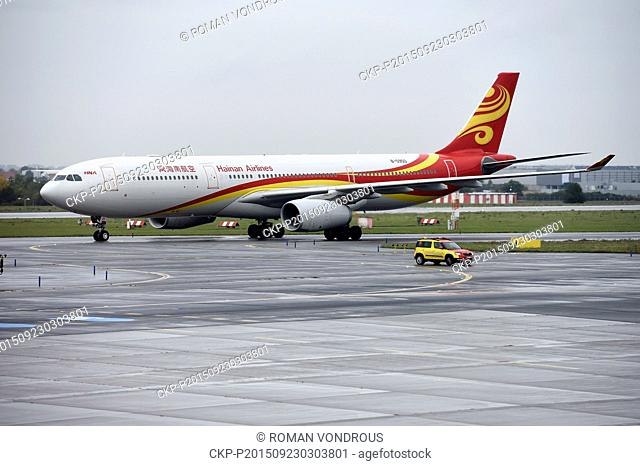 Chinese air carrier Hainan Airlines starts flights between Prague and Beijing at the Vaclav Havel Airport in Prague, Czech Republic, September 23, 2015