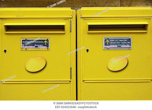 French yellow mailboxes, Beziers, France