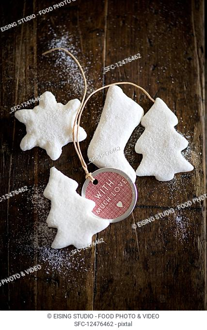 Christmas tree decorations made from marshmallow