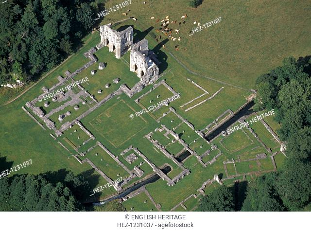 Roche Abbey, South Yorkshire, 1999. Aerial view of the remains of Roche Abbey, Maltby, South Yorkshire, from the south west