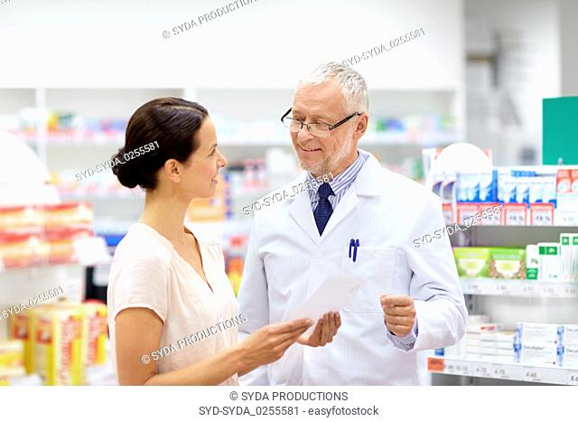 woman and apothecary with prescription at pharmacy
